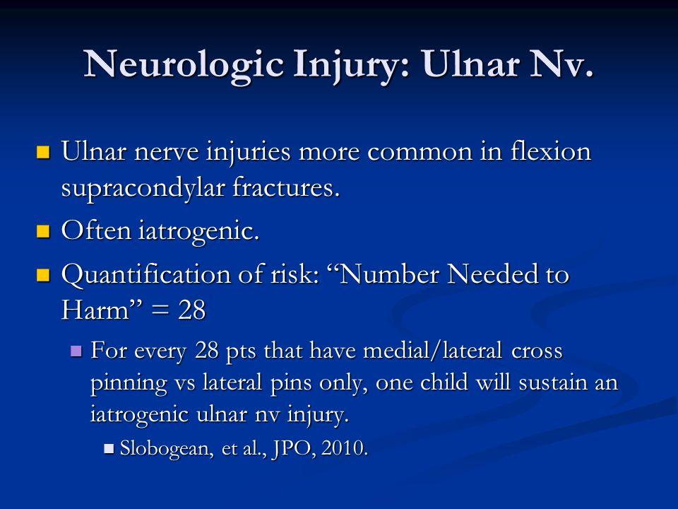 Neurologic Injury: Ulnar Nv. Ulnar nerve injuries more common in flexion supracondylar fractures. Ulnar nerve injuries more common in flexion supracon