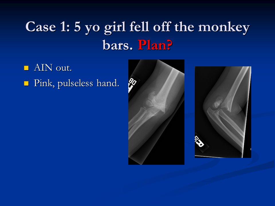 Case 1: 5 yo girl fell off the monkey bars. Plan? AIN out. AIN out. Pink, pulseless hand. Pink, pulseless hand.