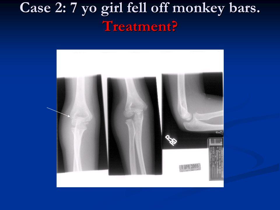 Case 2: 7 yo girl fell off monkey bars. Treatment?