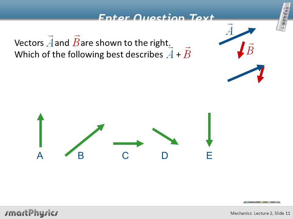 Mechanics Lecture 2, Slide 10 Vector Addition Add Components!!! Add  Tail to Head