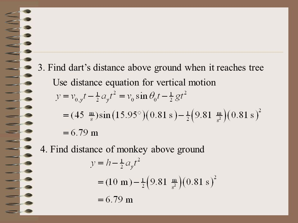 3. Find dart's distance above ground when it reaches tree Use distance equation for vertical motion 4. Find distance of monkey above ground