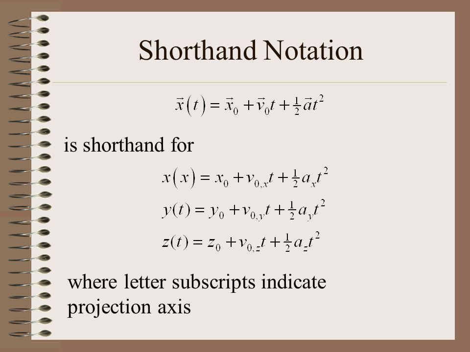 Shorthand Notation is shorthand for where letter subscripts indicate projection axis