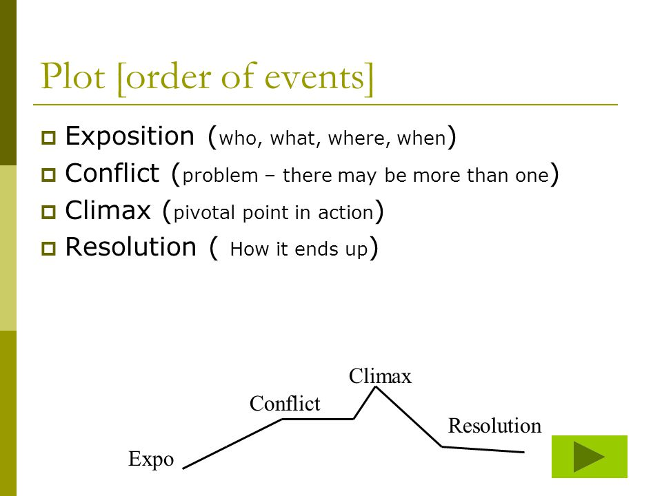 Plot [order of events]  Exposition ( who, what, where, when )  Conflict ( problem – there may be more than one )  Climax ( pivotal point in action )  Resolution ( How it ends up ) Expo Conflict Resolution Climax