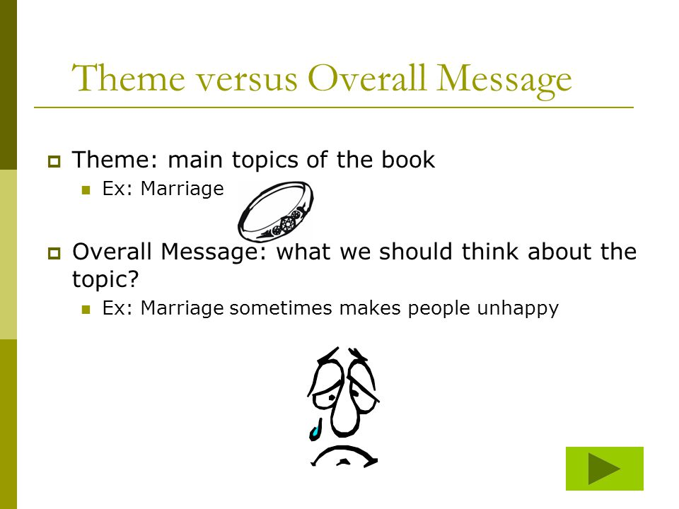 Theme versus Overall Message  Theme: main topics of the book Ex: Marriage  Overall Message: what we should think about the topic.