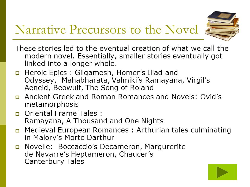 Narrative Precursors to the Novel These stories led to the eventual creation of what we call the modern novel. Essentially, smaller stories eventually