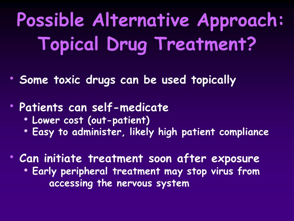 Possible Alternative Approach: Topical Drug Treatment.