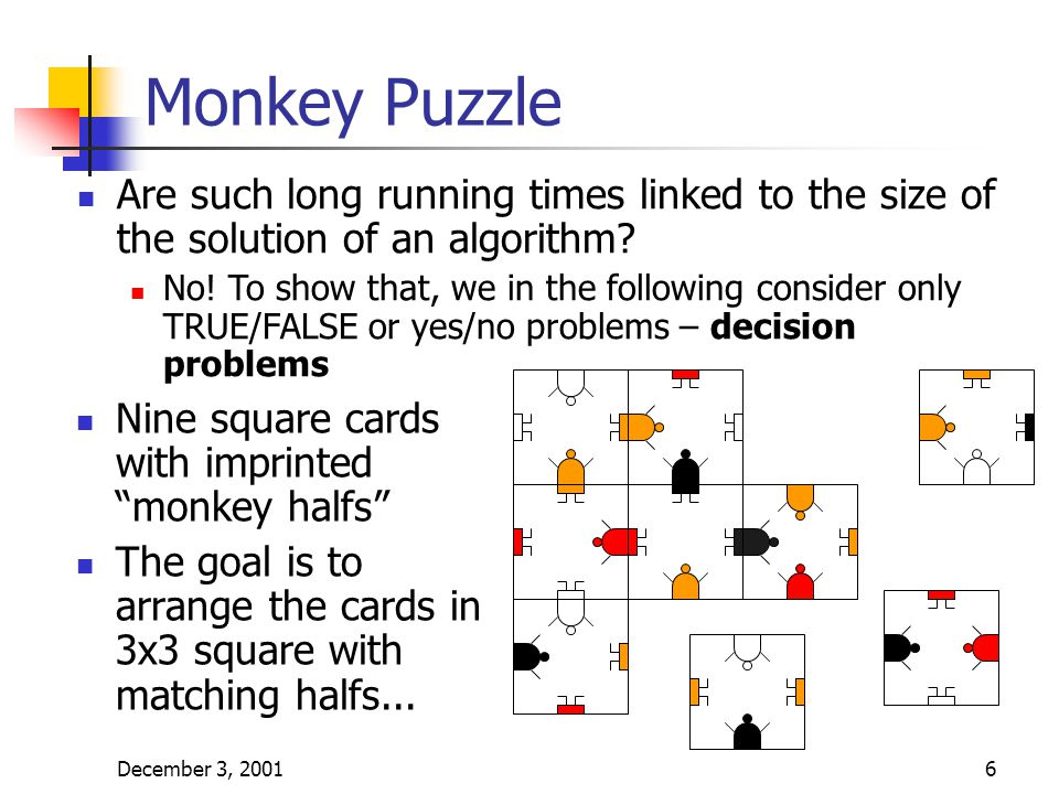 "December 3, 20016 Monkey Puzzle Nine square cards with imprinted ""monkey halfs"" The goal is to arrange the cards in 3x3 square with matching halfs..."
