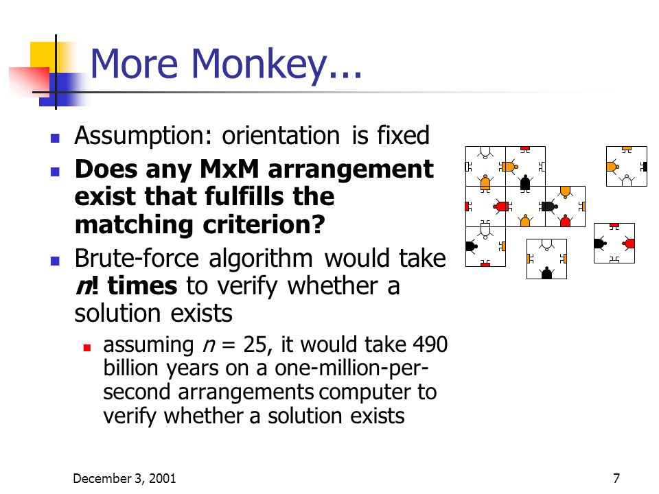 December 3, 20017 More Monkey... Assumption: orientation is fixed Does any MxM arrangement exist that fulfills the matching criterion? Brute-force alg