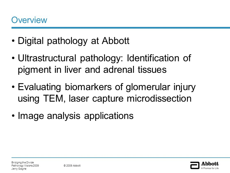 Bridging the Divide Pathology Visions 2009 Jerry Gagne © 2009 Abbott Overview Digital pathology at Abbott Ultrastructural pathology: Identification of pigment in liver and adrenal tissues Evaluating biomarkers of glomerular injury using TEM, laser capture microdissection Image analysis applications
