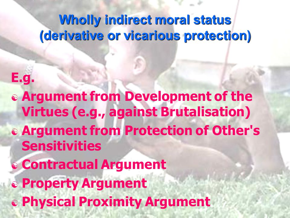 Wholly indirect moral status (derivative or vicarious protection) E.g.