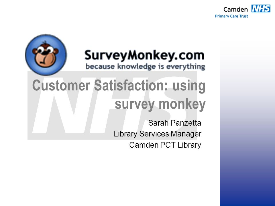 Customer Satisfaction: using survey monkey Sarah Panzetta Library Services Manager Camden PCT Library
