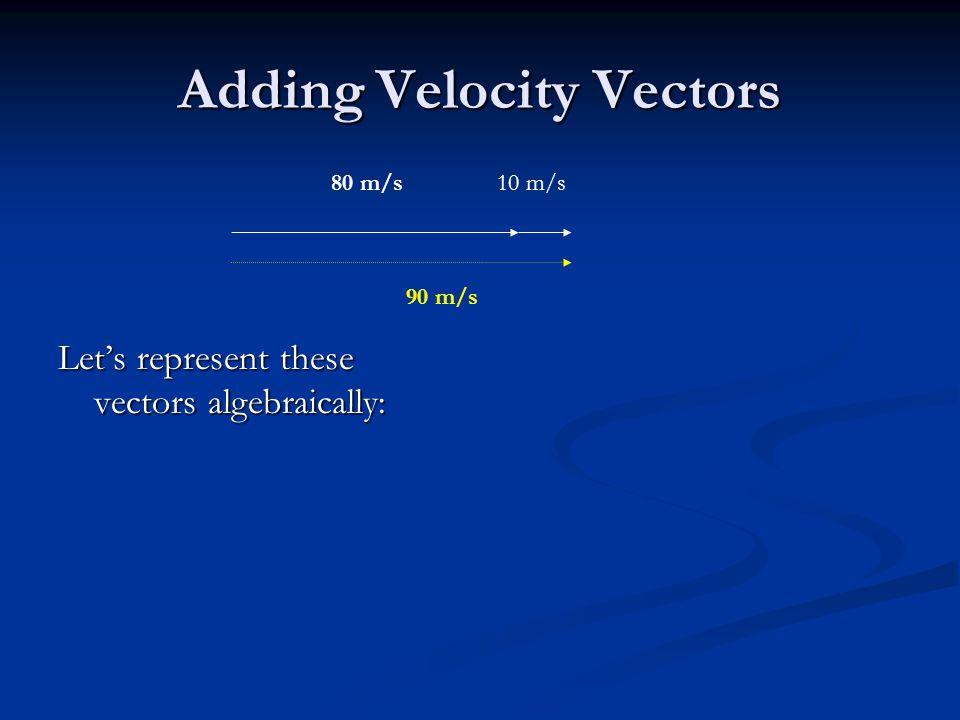Adding Velocity Vectors Let's represent these vectors algebraically: 80 m/s 90 m/s 10 m/s
