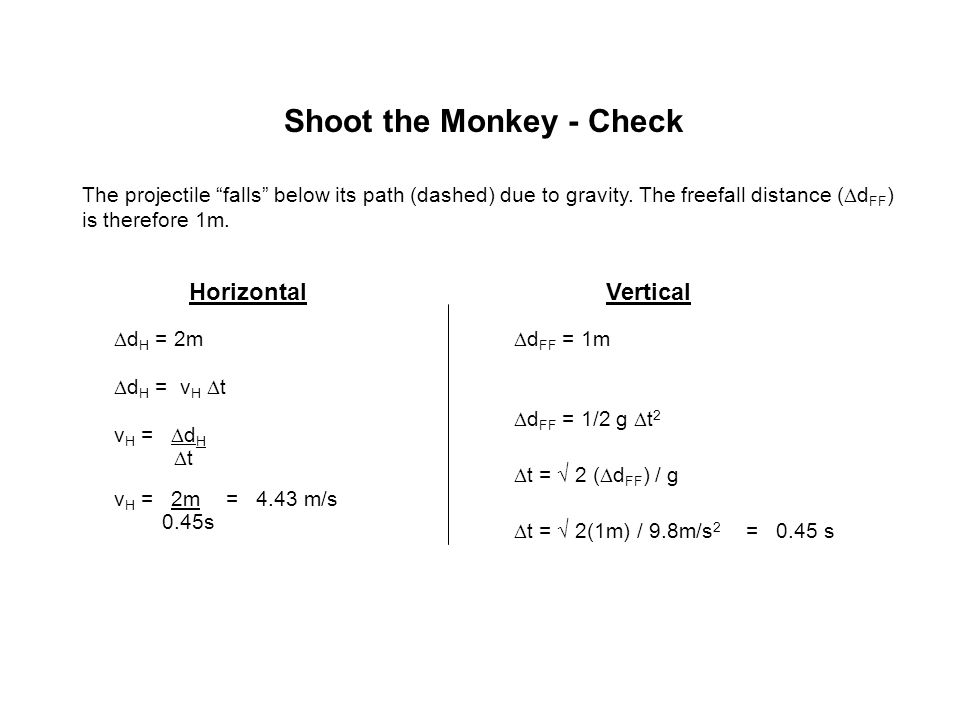 Shoot the Monkey - Check HorizontalVertical  d H = 2m  d H = v H  t v H =  d H  t  d FF = 1m  d FF = 1/2 g  t 2 v H = 2m 0.45s = 4.43 m/s The
