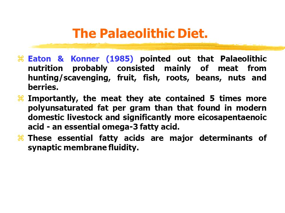 The Palaeolithic Diet.