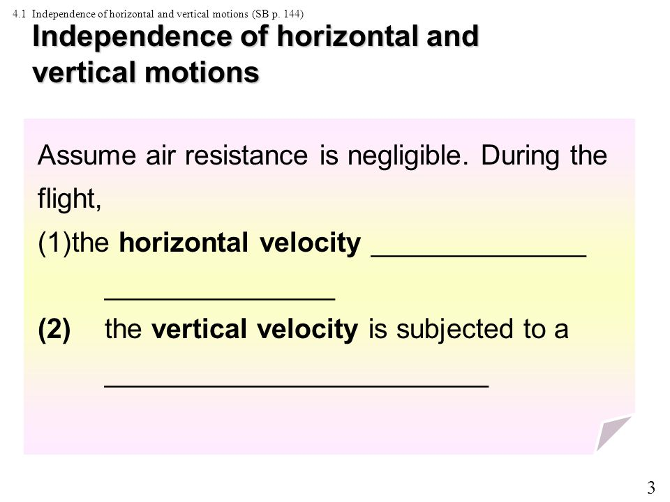 3 4.1 Independence of horizontal and vertical motions (SB p.