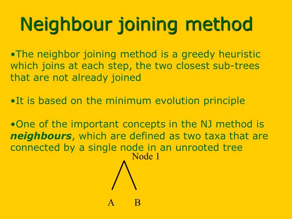 Neighbour joining method The neighbor joining method is a greedy heuristic which joins at each step, the two closest sub-trees that are not already joined It is based on the minimum evolution principle One of the important concepts in the NJ method is neighbours, which are defined as two taxa that are connected by a single node in an unrooted tree AB Node 1