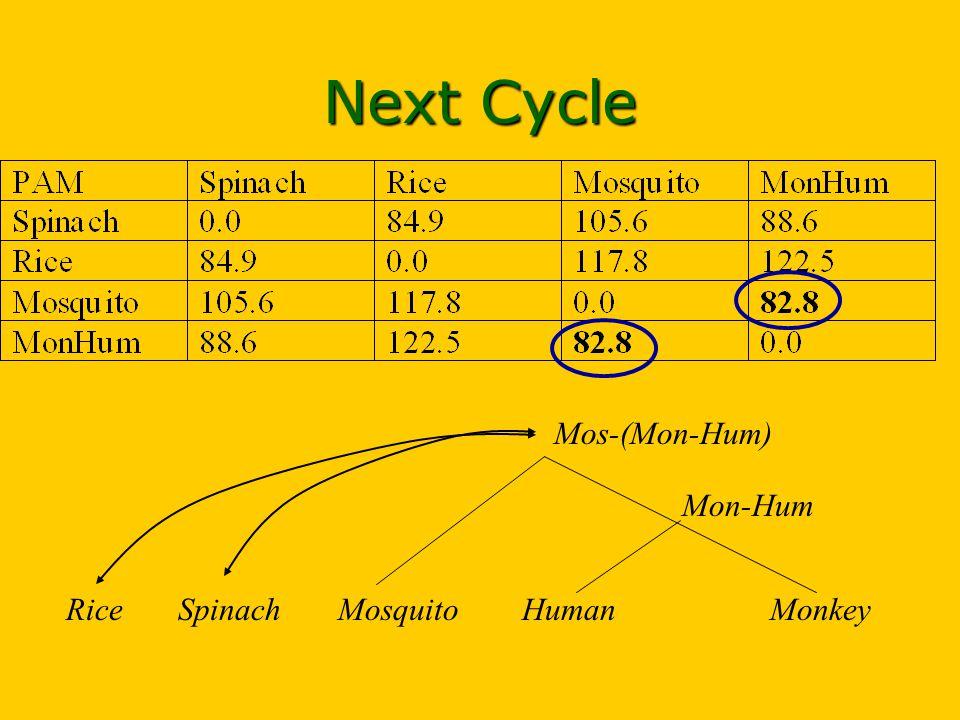HumanMosquito Mon-Hum MonkeySpinachRice Mos-(Mon-Hum) Next Cycle