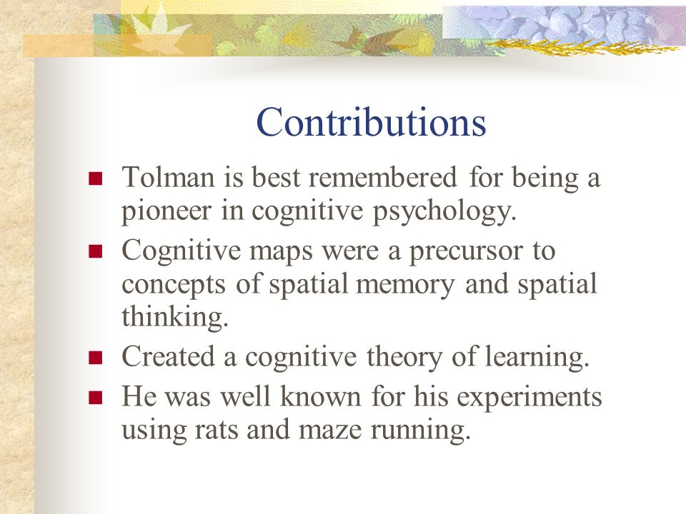 Contributions Tolman is best remembered for being a pioneer in cognitive psychology. Cognitive maps were a precursor to concepts of spatial memory and