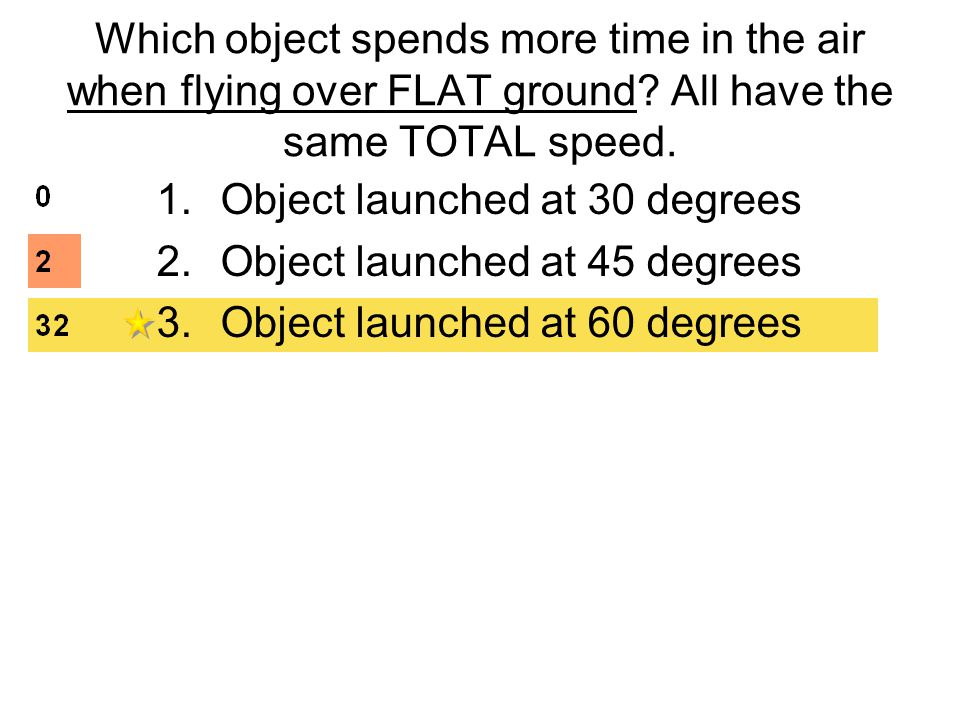 Which object spends more time in the air when flying over FLAT ground.