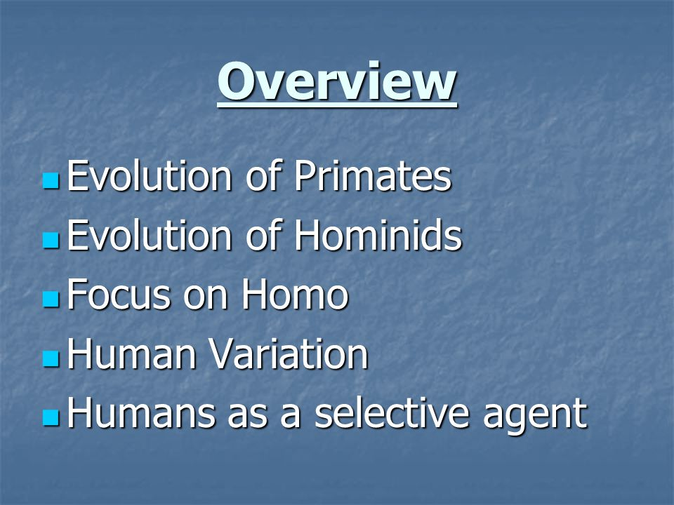 Overview Evolution of Primates Evolution of Primates Evolution of Hominids Evolution of Hominids Focus on Homo Focus on Homo Human Variation Human Variation Humans as a selective agent Humans as a selective agent
