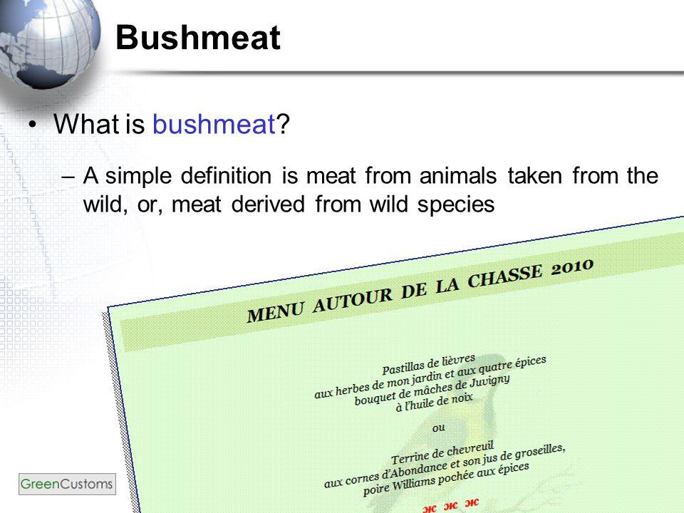 Bushmeat – App.II mammals (2) Common nameScientific NameRange States Owl faced monkey C.