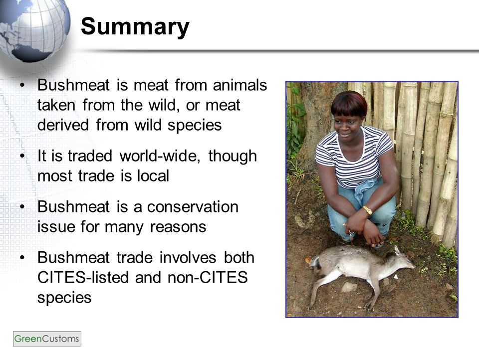 Summary Bushmeat is meat from animals taken from the wild, or meat derived from wild species It is traded world-wide, though most trade is local Bushmeat is a conservation issue for many reasons Bushmeat trade involves both CITES-listed and non-CITES species
