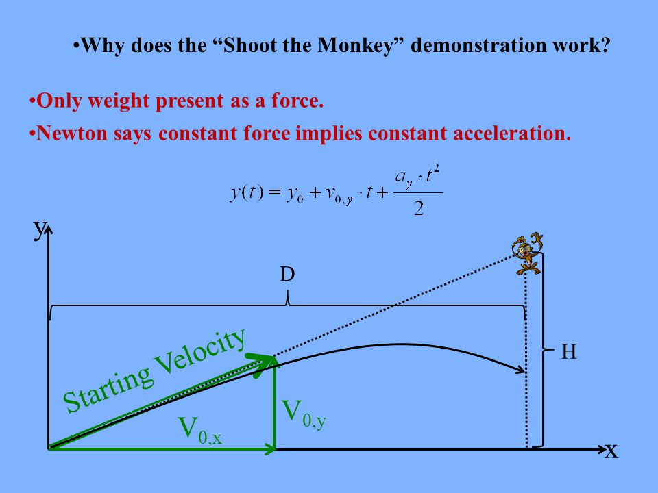 Why does the Shoot the Monkey demonstration work.
