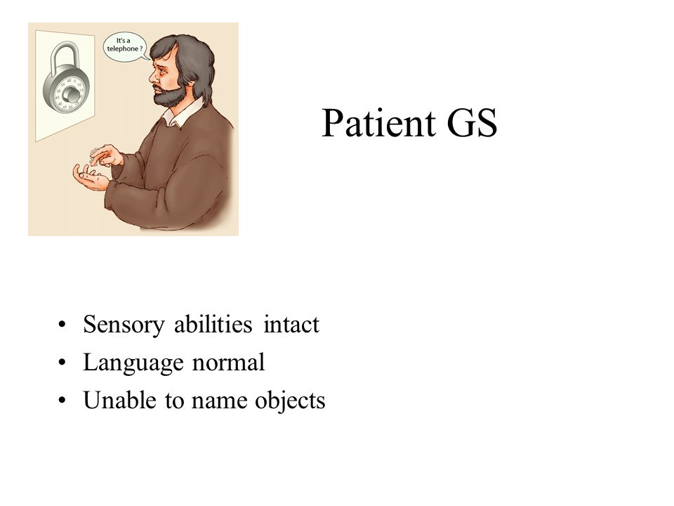 Patient GS Sensory abilities intact Language normal Unable to name objects