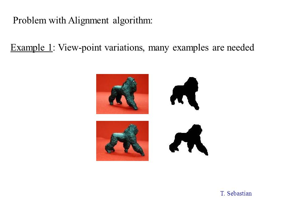 Example 1: View-point variations, many examples are needed Problem with Alignment algorithm: T.