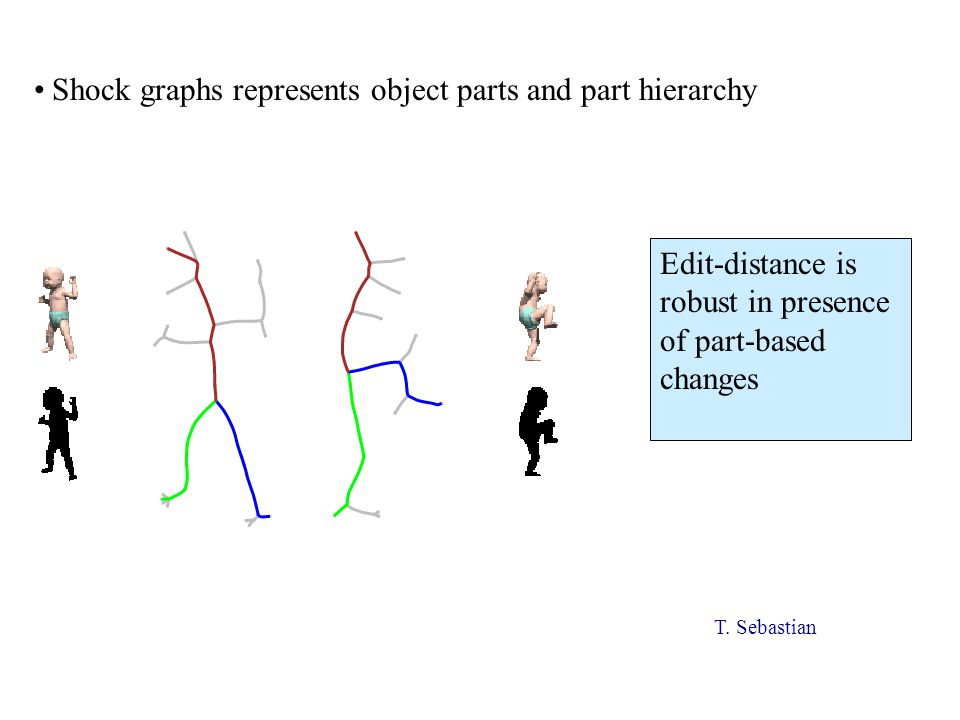 Shock graphs represents object parts and part hierarchy Edit-distance is robust in presence of part-based changes T.