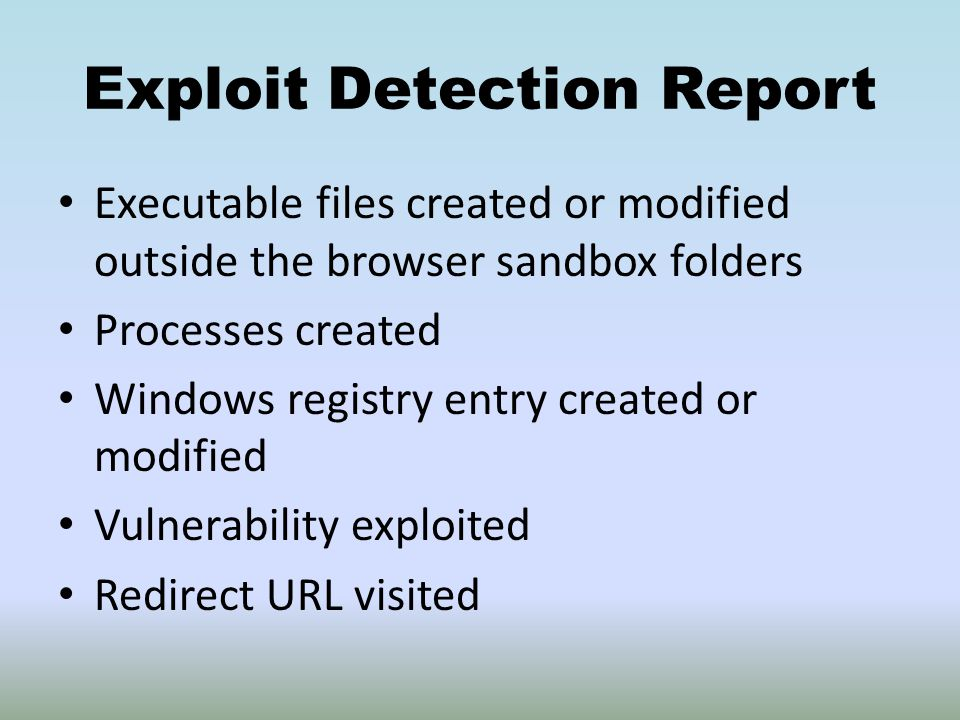 Exploit Detection Report Executable files created or modified outside the browser sandbox folders Processes created Windows registry entry created or modified Vulnerability exploited Redirect URL visited