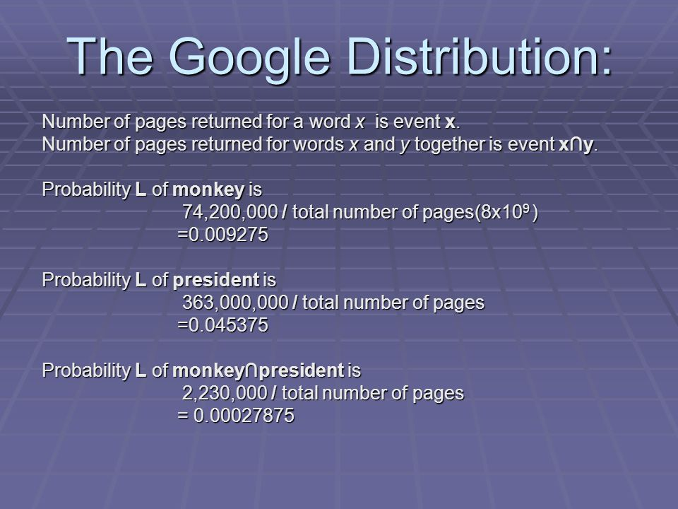 The Google Distribution: Number of pages returned for a word x is event x. Number of pages returned for words x and y together is event x∩y. Probabili
