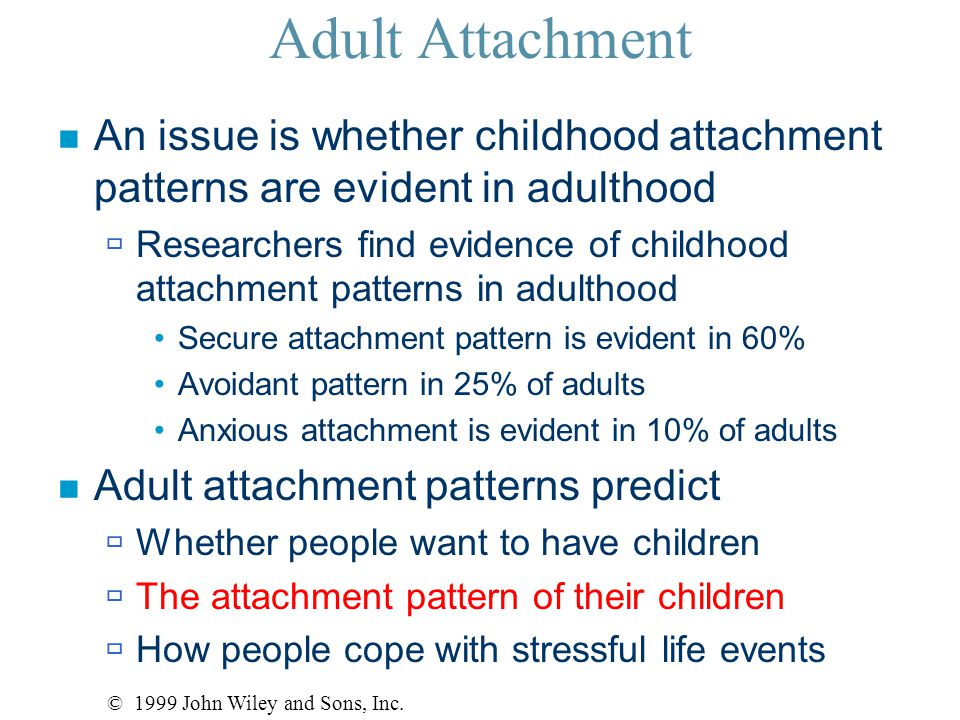 Adult Attachment n An issue is whether childhood attachment patterns are evident in adulthood  Researchers find evidence of childhood attachment patterns in adulthood Secure attachment pattern is evident in 60% Avoidant pattern in 25% of adults Anxious attachment is evident in 10% of adults n Adult attachment patterns predict  Whether people want to have children  The attachment pattern of their children  How people cope with stressful life events © 1999 John Wiley and Sons, Inc.