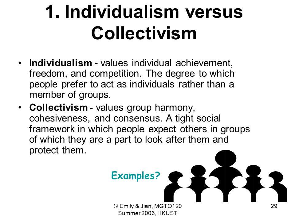 © Emily & Jian, MGTO120 Summer 2006, HKUST 29 1. Individualism versus Collectivism Individualism - values individual achievement, freedom, and competi