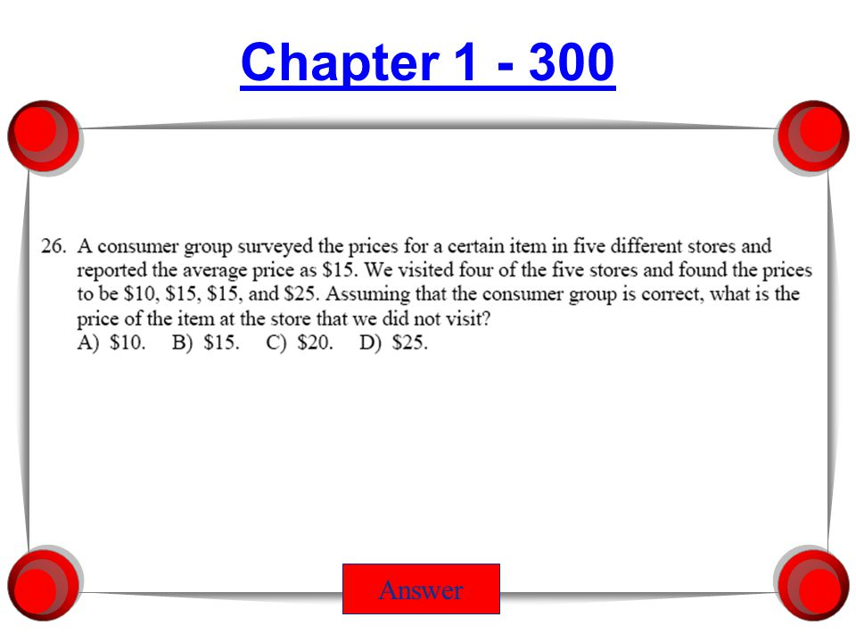 Chapter 1 - 300 Answer