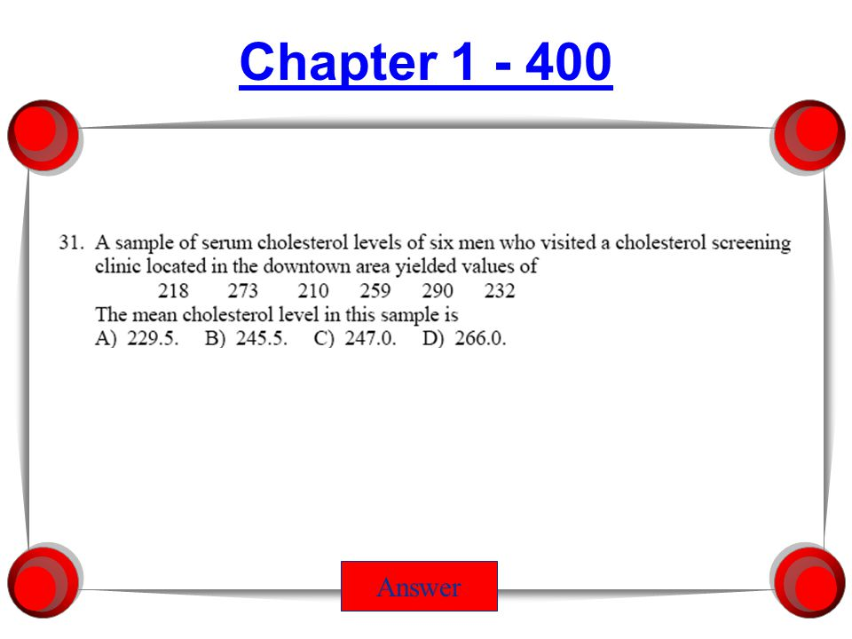 Chapter 1 - 400 Answer