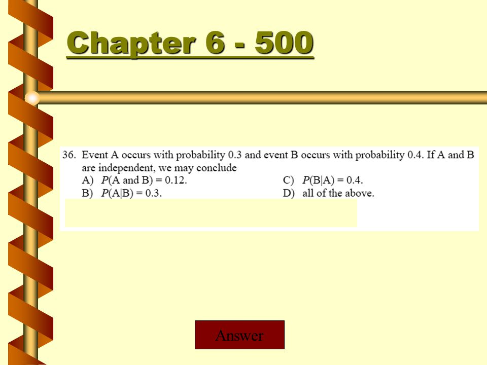 Chapter 6 - 400 Chapter 6 - 400 Answer