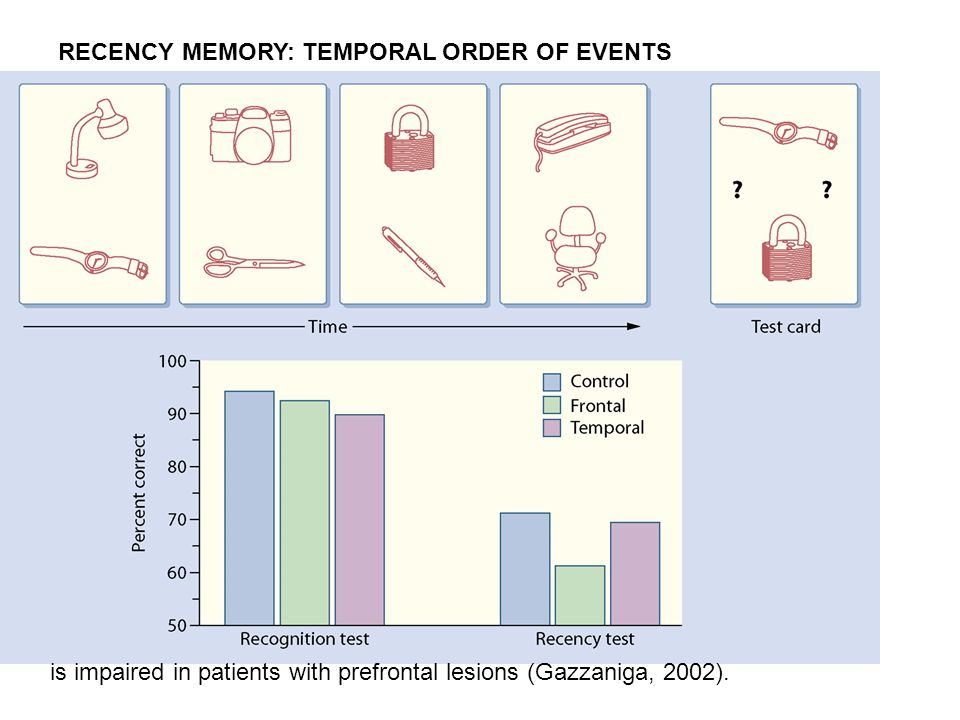is impaired in patients with prefrontal lesions (Gazzaniga, 2002). RECENCY MEMORY: TEMPORAL ORDER OF EVENTS