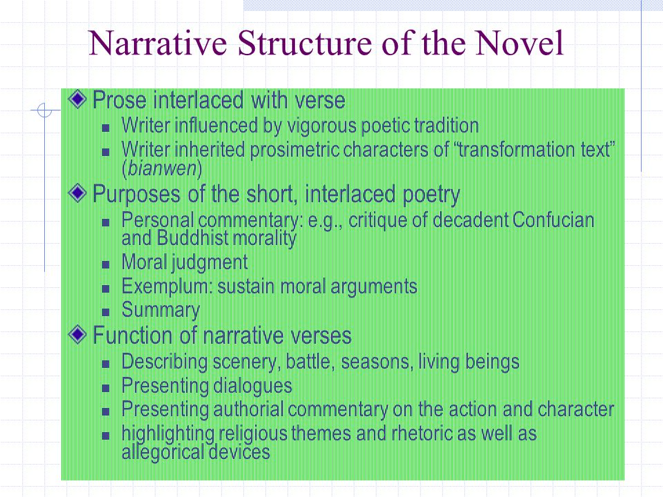 Narrative Structure of the Novel Prose interlaced with verse Writer influenced by vigorous poetic tradition Writer inherited prosimetric characters of transformation text ( bianwen ) Purposes of the short, interlaced poetry Personal commentary: e.g., critique of decadent Confucian and Buddhist morality Moral judgment Exemplum: sustain moral arguments Summary Function of narrative verses Describing scenery, battle, seasons, living beings Presenting dialogues Presenting authorial commentary on the action and character highlighting religious themes and rhetoric as well as allegorical devices