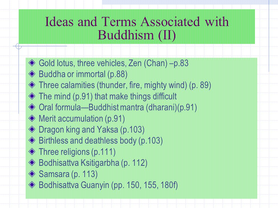 Ideas and Terms Associated with Buddhism (II) Gold lotus, three vehicles, Zen (Chan) –p.83 Buddha or immortal (p.88) Three calamities (thunder, fire, mighty wind) (p.