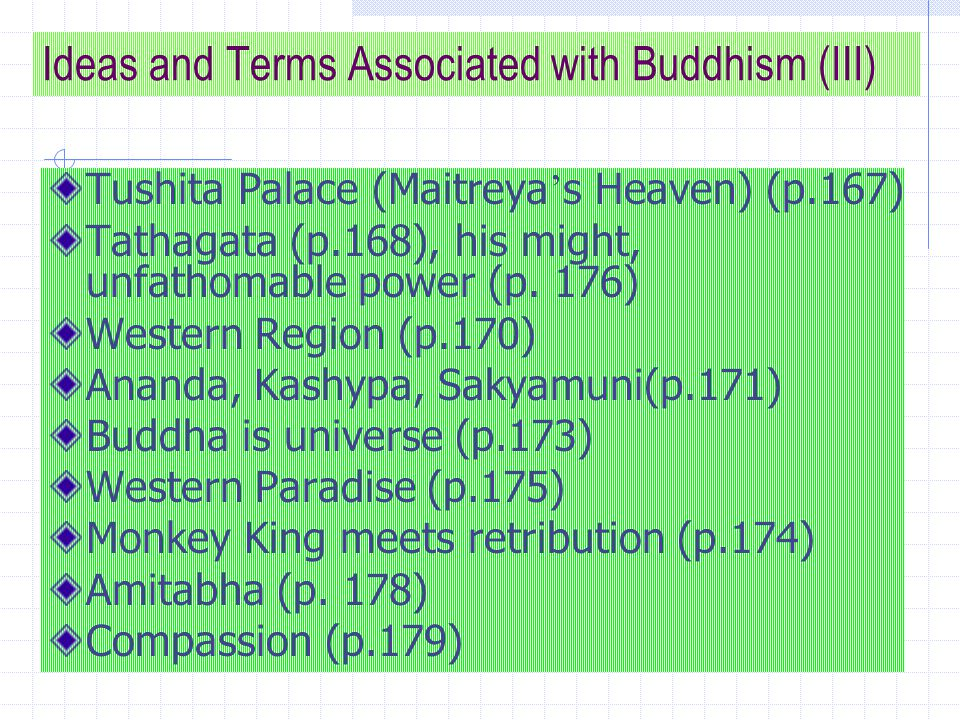 Ideas and Terms Associated with Buddhism (IV) The mind is Buddha, and the Buddha is mind (p.297) Beginning of pilgrimage (p.303) Six robbers [whose names represent six senses when they are impure: eye, ear, nose, tongue, mind, body] Violence vs.