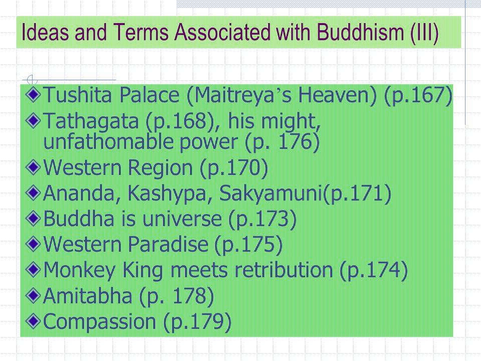 Ideas and Terms Associated with Buddhism (III) Tushita Palace (Maitreya ' s Heaven) (p.167) Tathagata (p.168), his might, unfathomable power (p.