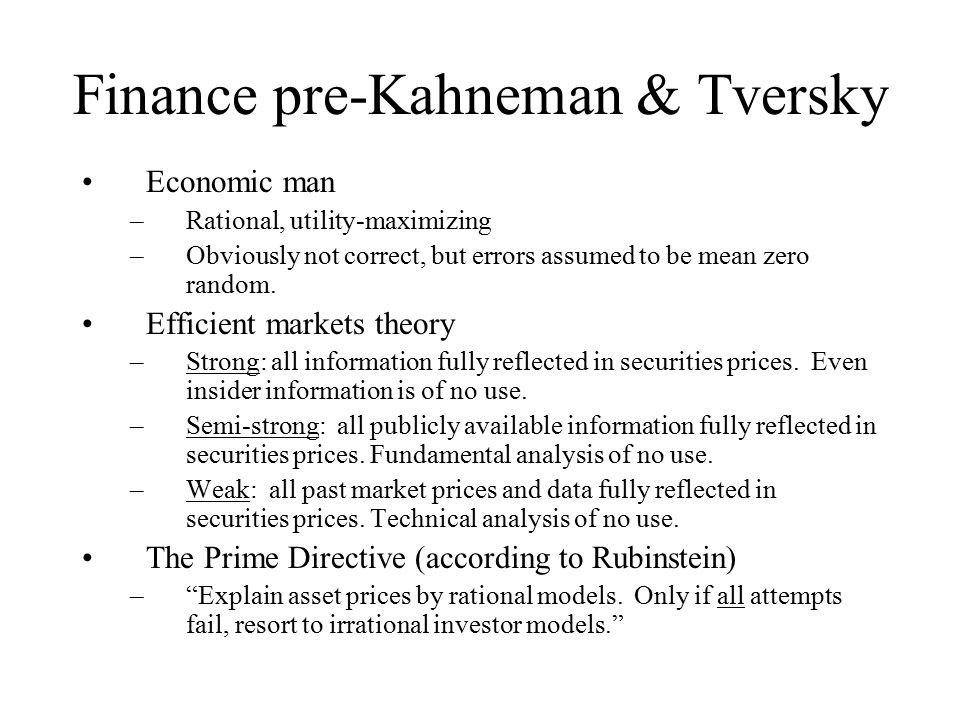 Kahneman & Tversky Psychologists whose work has greatly impacted economics.