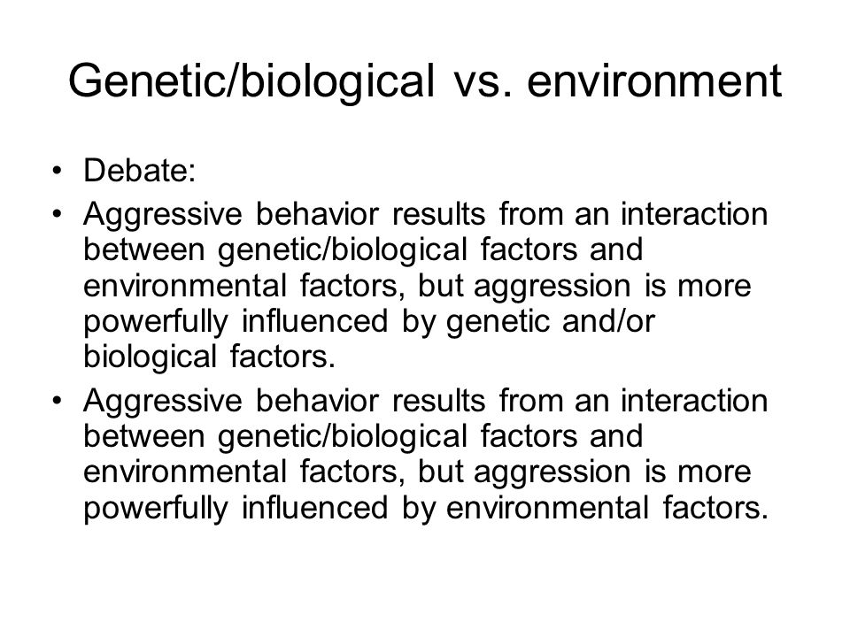 Genetic/biological vs.