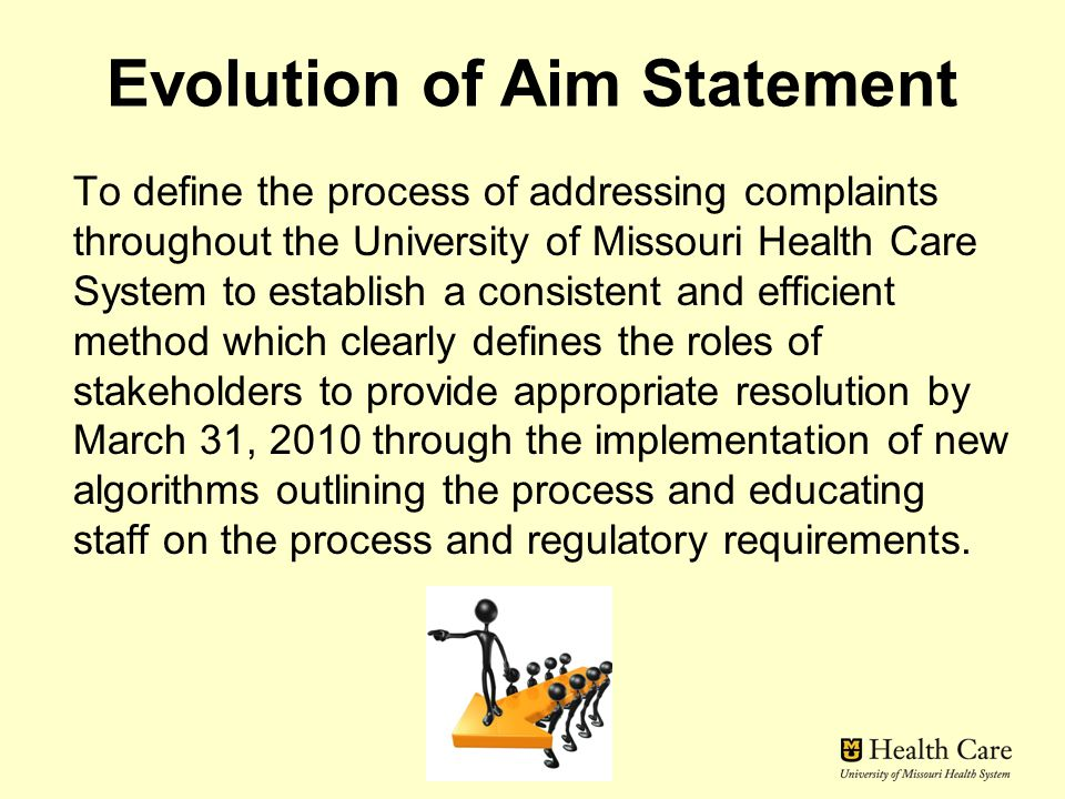 Evolution of Aim Statement To define the process of addressing complaints throughout the University of Missouri Health Care System to establish a consistent and efficient method which clearly defines the roles of stakeholders to provide appropriate resolution by March 31, 2010 through the implementation of new algorithms outlining the process and educating staff on the process and regulatory requirements.