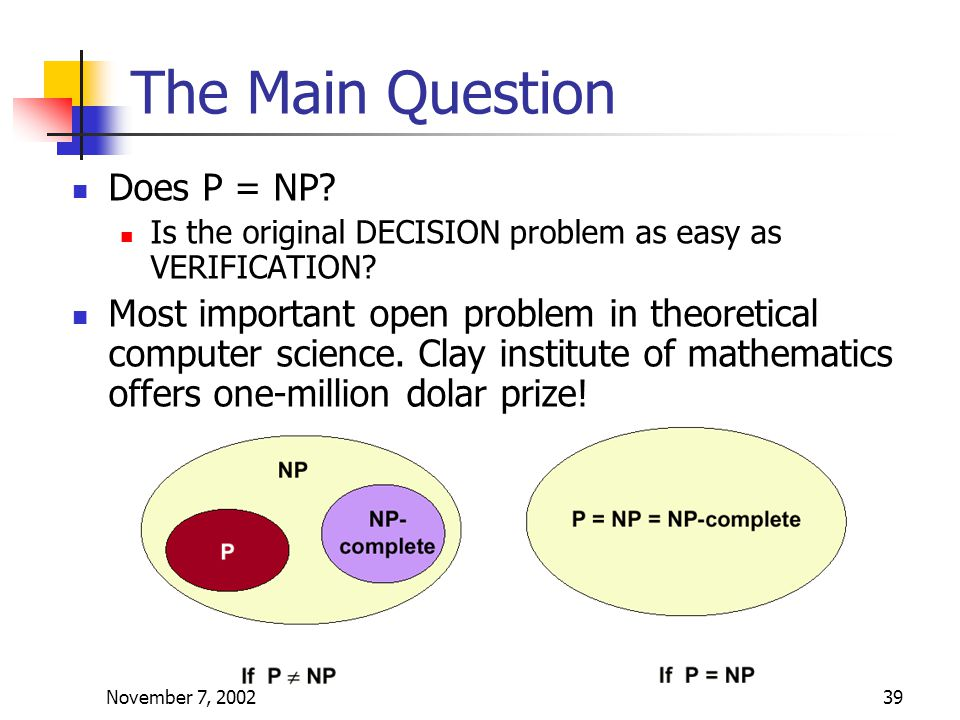 November 7, 200239 The Main Question Does P = NP.