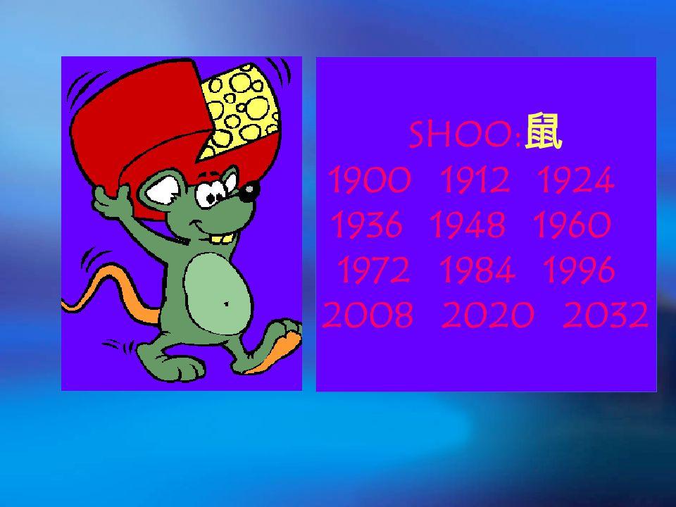 SHOO: 鼠 1900 1912 1924 1936 1948 1960 1972 1984 1996 2008 2020 2032