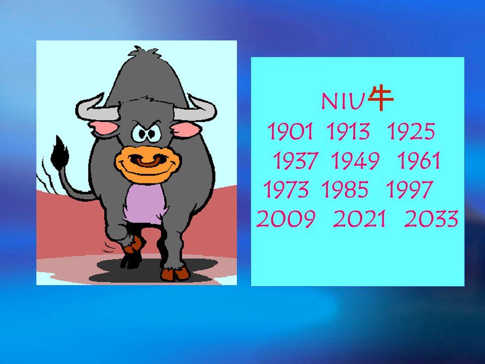 NIU 牛 1901 1913 1925 1937 1949 1961 1973 1985 1997 2009 2021 2033