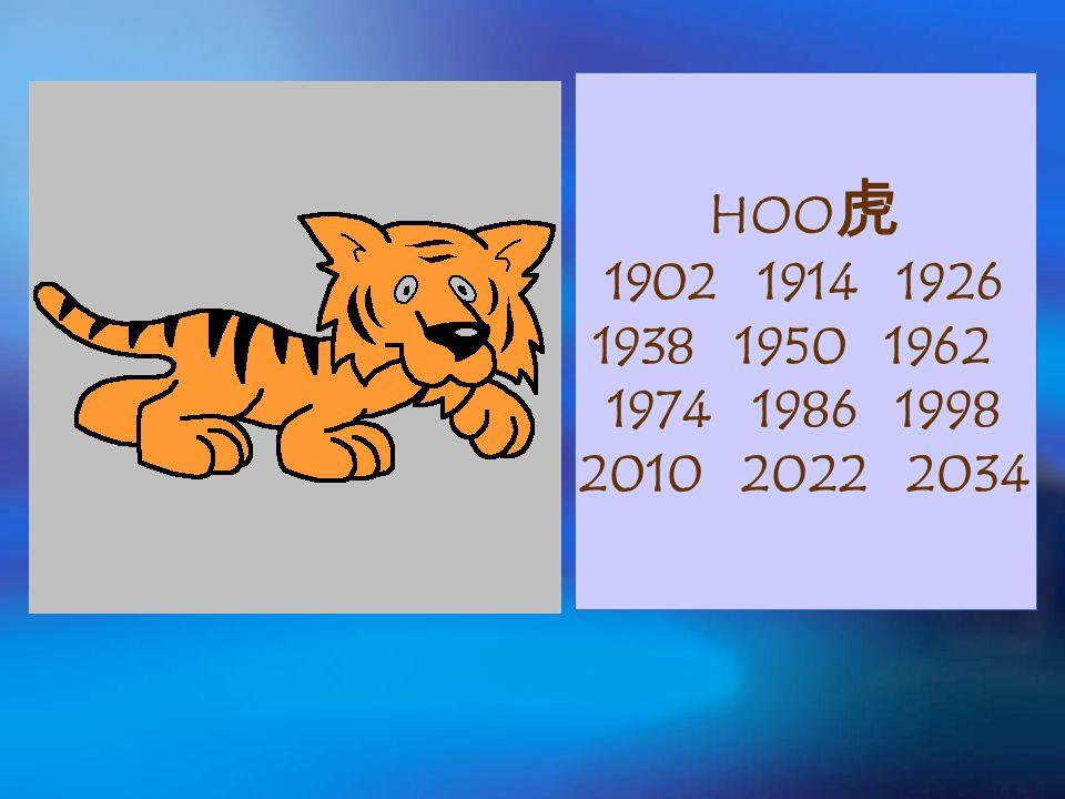 HOO 虎 1902 1914 1926 1938 1950 1962 1974 1986 1998 2010 2022 2034