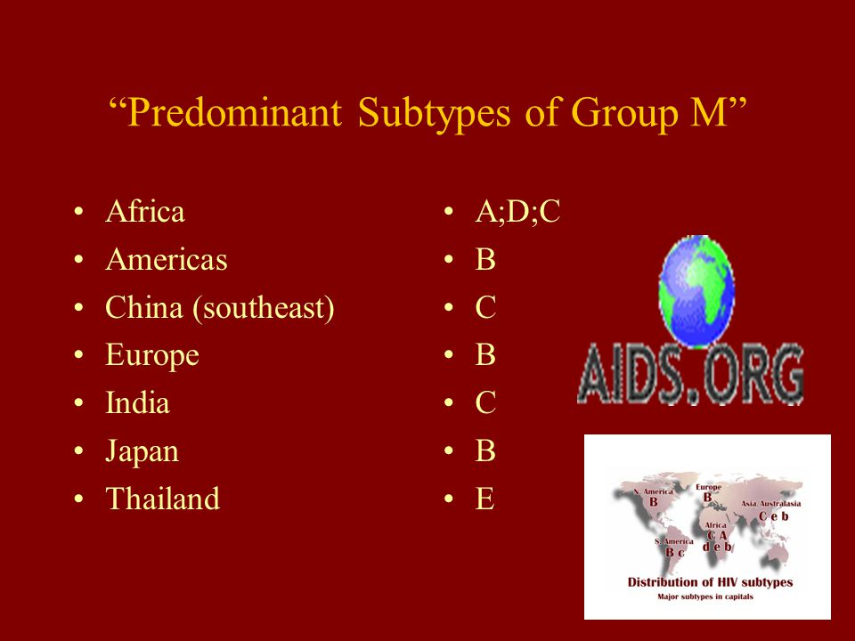 Predominant Subtypes of Group M Africa Americas China (southeast) Europe India Japan Thailand A;D;C B C B C B E